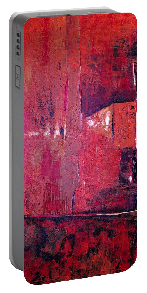 Abstract Portable Battery Charger featuring the painting Risky Business by Ruth Palmer