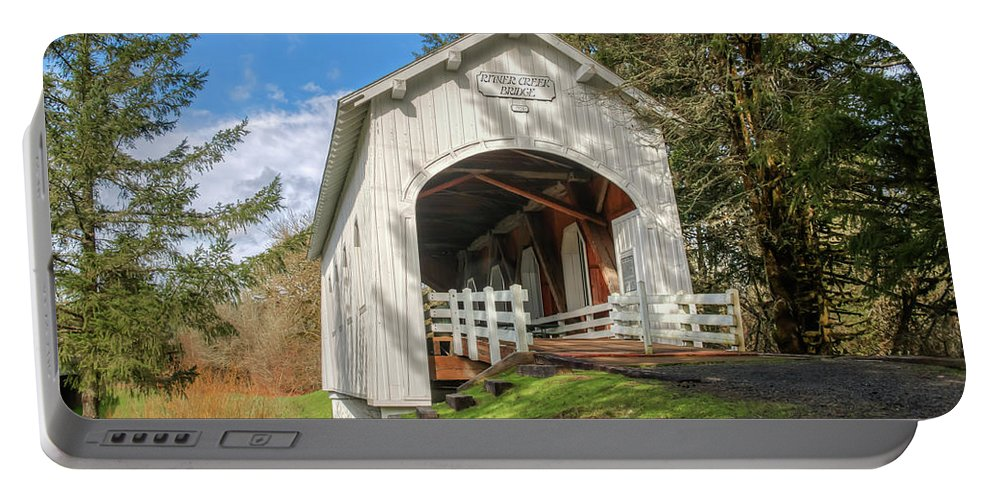 Covered Bridge Portable Battery Charger featuring the photograph Ritner Creek Covered Bridge 0739 by Kristina Rinell