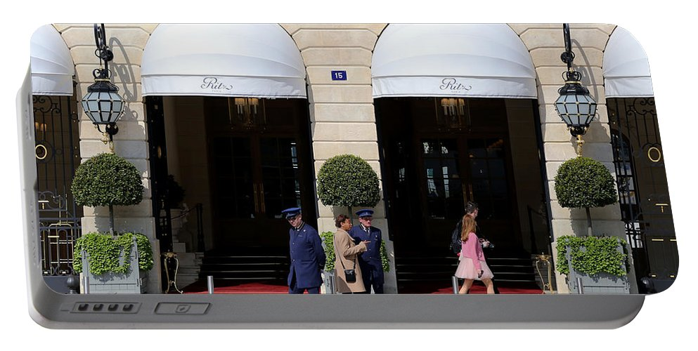 Ritz Portable Battery Charger featuring the photograph Ritz Hotel Paris by Andrew Fare
