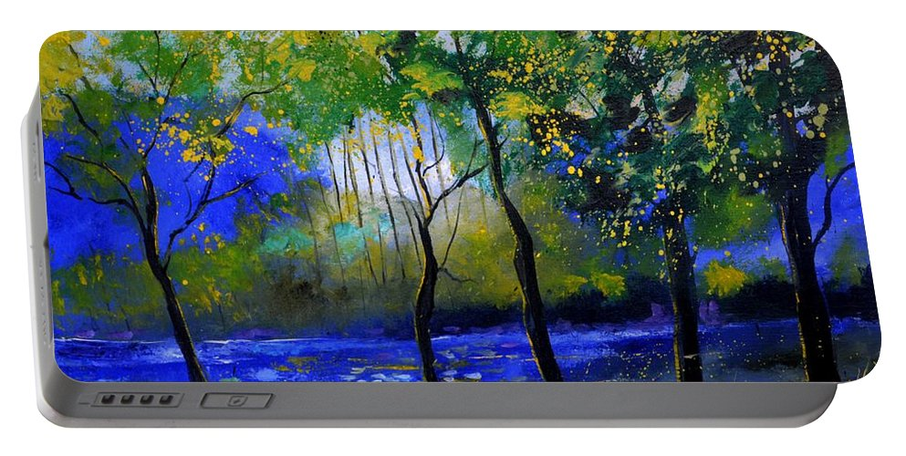 Landscape Portable Battery Charger featuring the painting River 777120 by Pol Ledent
