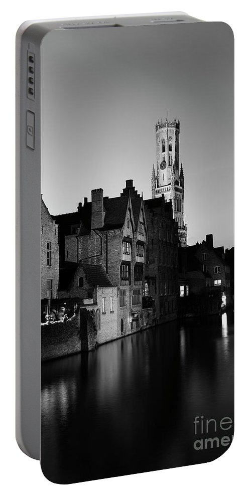 Rozenhoedkaai Area Portable Battery Charger featuring the photograph River Dijver And The Belfort At Night, Rozenhoedkaai, Bruges by Dave Porter