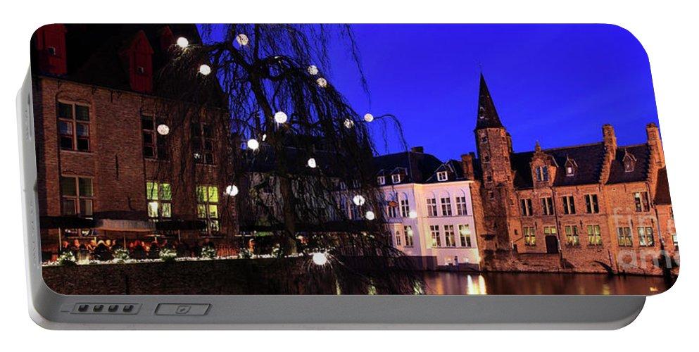 Rozenhoedkaai Area Portable Battery Charger featuring the photograph River Dijver, Rozenhoedkaai Area At Night, Bruges City by Dave Porter
