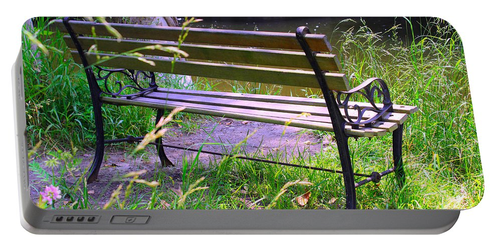 Bench Portable Battery Charger featuring the painting River Fishing Bench by Corey Ford