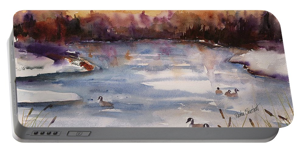 River Portable Battery Charger featuring the painting River Geese by Renee Chastant