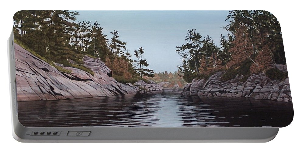 Landscapes Portable Battery Charger featuring the painting River Narrows by Kenneth M Kirsch