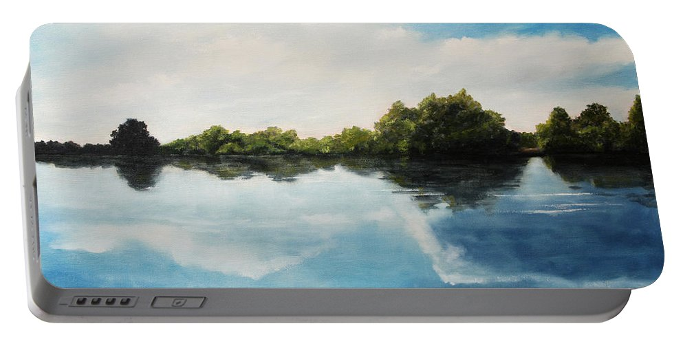 Landscape Portable Battery Charger featuring the painting River of Dreams by Darko Topalski