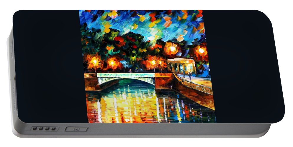 Afremov Portable Battery Charger featuring the painting River Of Love by Leonid Afremov