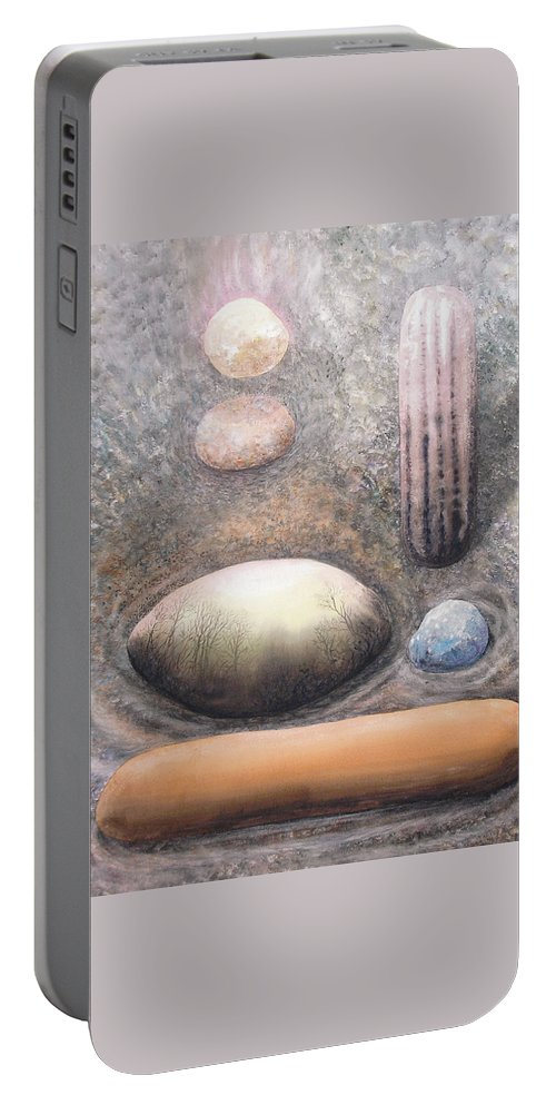 Abstract Portable Battery Charger featuring the painting River Rock 1 by Valerie Meotti