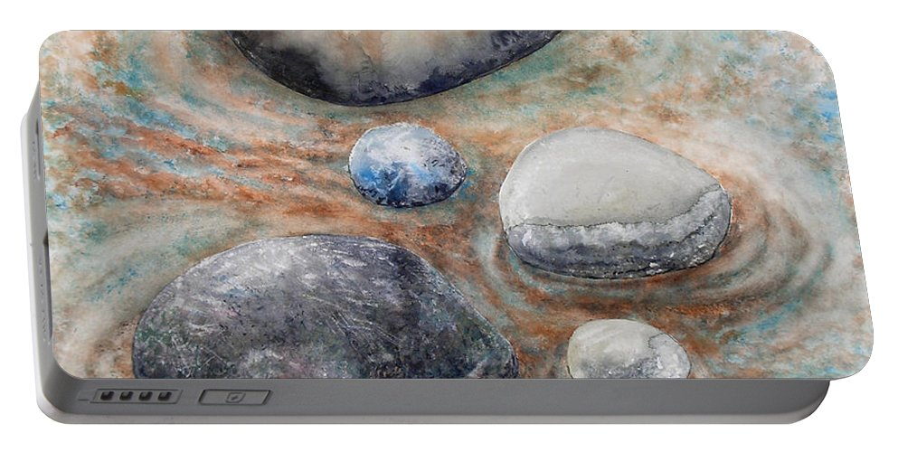Abstract Portable Battery Charger featuring the painting River Rock 2 by Valerie Meotti