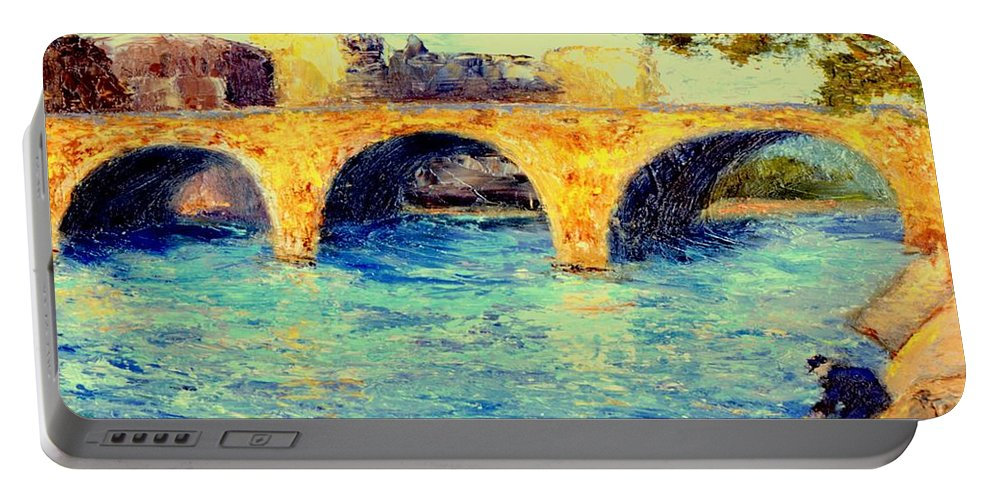 Impressionism Portable Battery Charger featuring the painting River Seine Bridge by Gail Kirtz