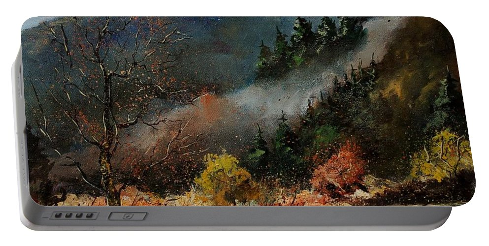 River Portable Battery Charger featuring the painting River Semois by Pol Ledent