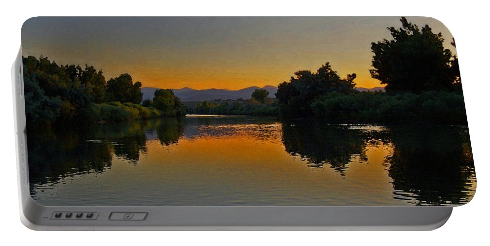Rivers Portable Battery Charger featuring the photograph River Sunset by Ernie Echols