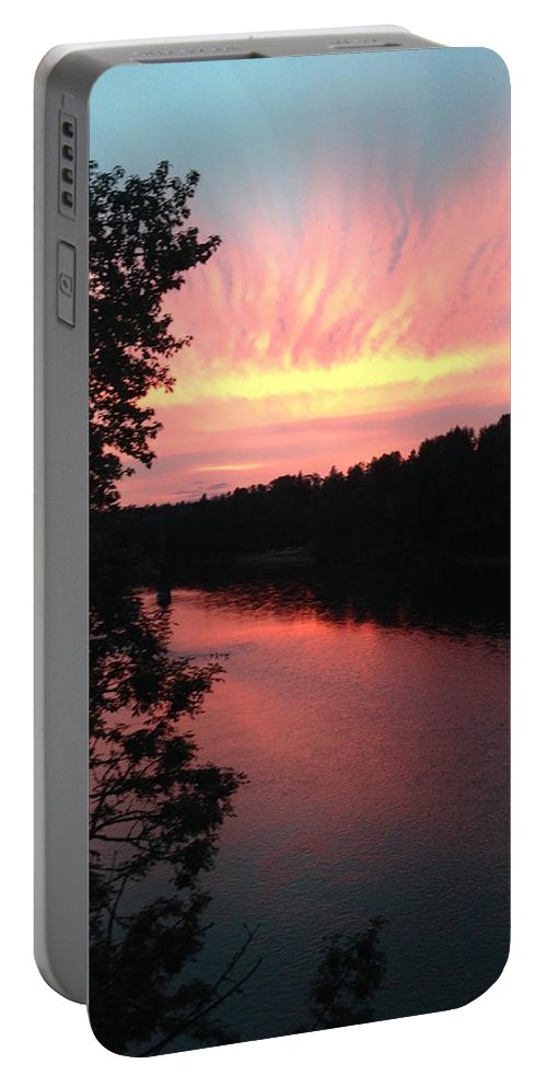 River Portable Battery Charger featuring the photograph River sunset by Shari Chavira