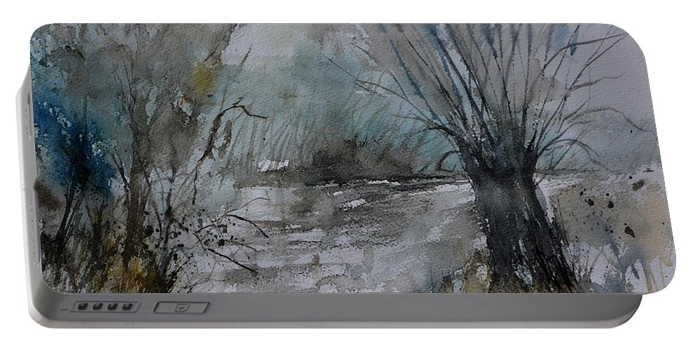 Landscape Portable Battery Charger featuring the painting River watercolor 711082 by Pol Ledent