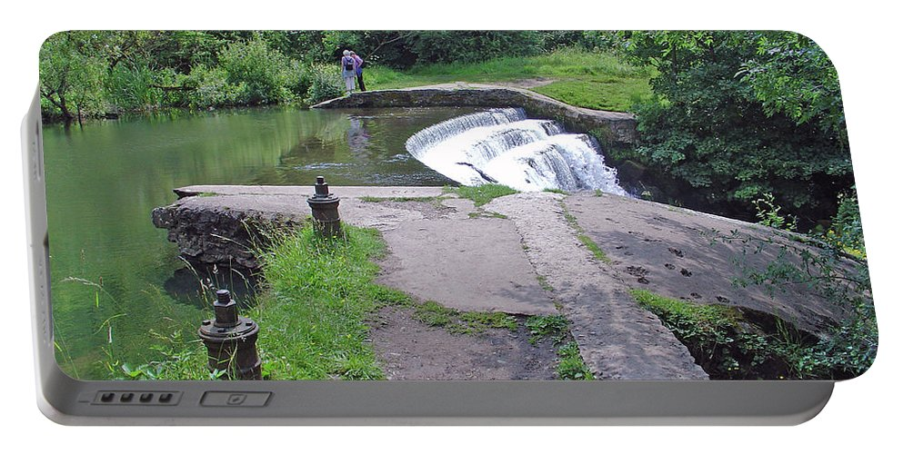 Europe Portable Battery Charger featuring the photograph River Wye Weir by Rod Johnson