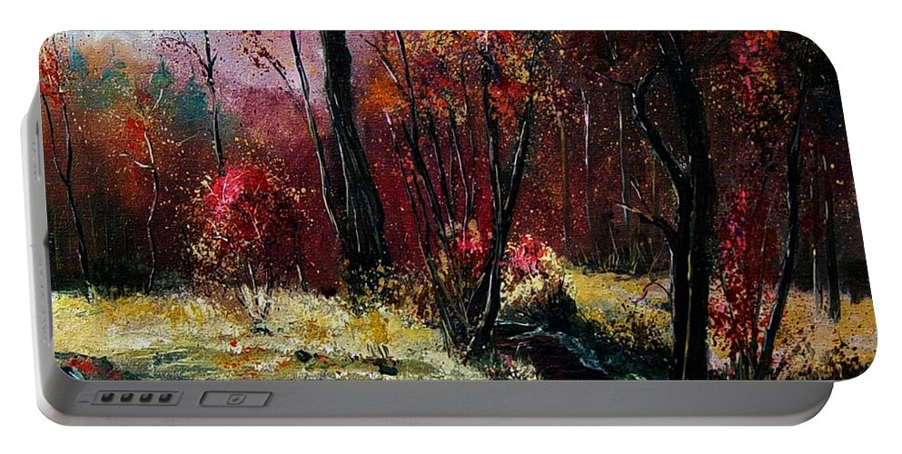 River Portable Battery Charger featuring the painting River Ywoigne by Pol Ledent
