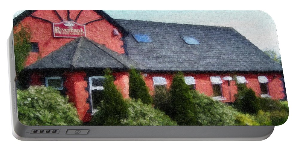 Ireland Portable Battery Charger featuring the painting Riverbank Restaurant Riverstown Ireland by Teresa Mucha