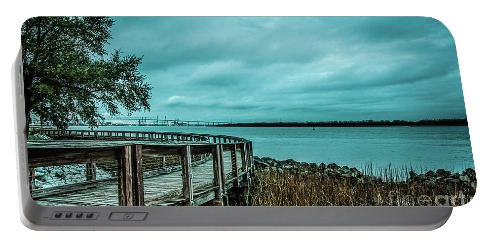 Riverfront Portable Battery Charger featuring the photograph Riverfront Park Boardwalk by Yvette Wilson