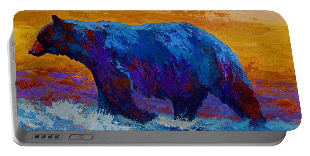 Bear Portable Battery Charger featuring the painting Rivers Edge I by Marion Rose