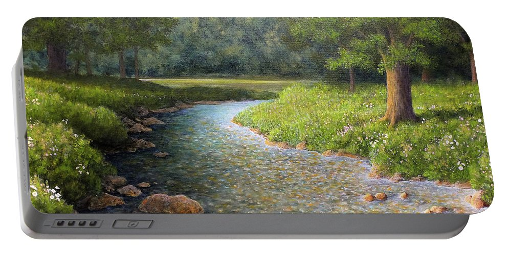 Country River Painting Portable Battery Charger featuring the painting Rivers End by Marc Dmytryshyn