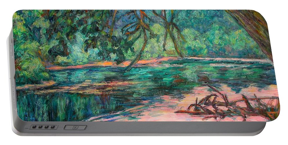 Riverview Park Portable Battery Charger featuring the painting Riverview At Dusk by Kendall Kessler