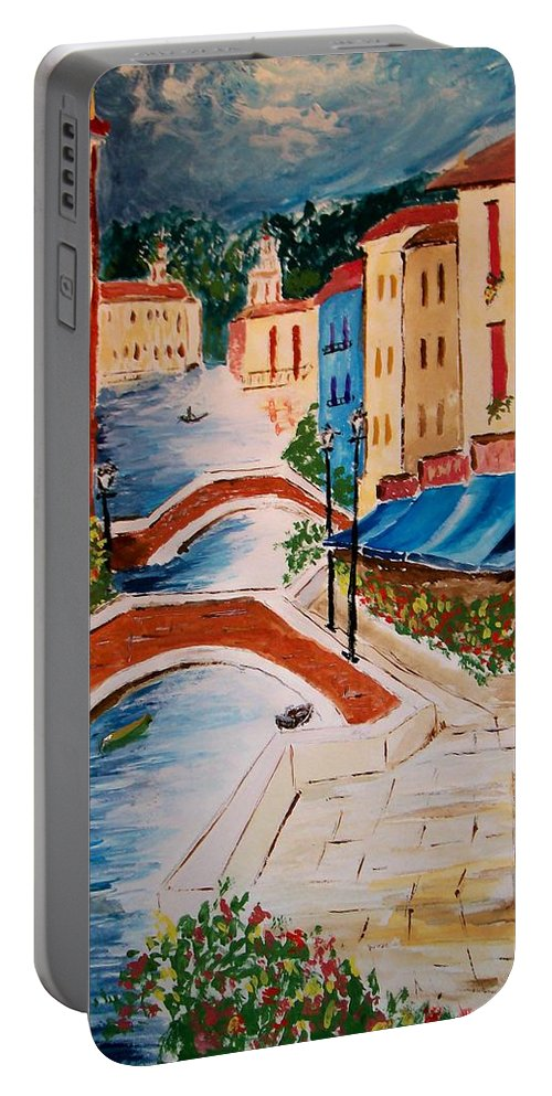 Canal Portable Battery Charger featuring the painting Riverwalk by Leo Gordon