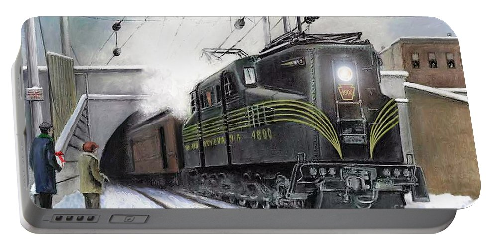 Pennsylvania Railroad Portable Battery Charger featuring the painting Rivets by David Mittner