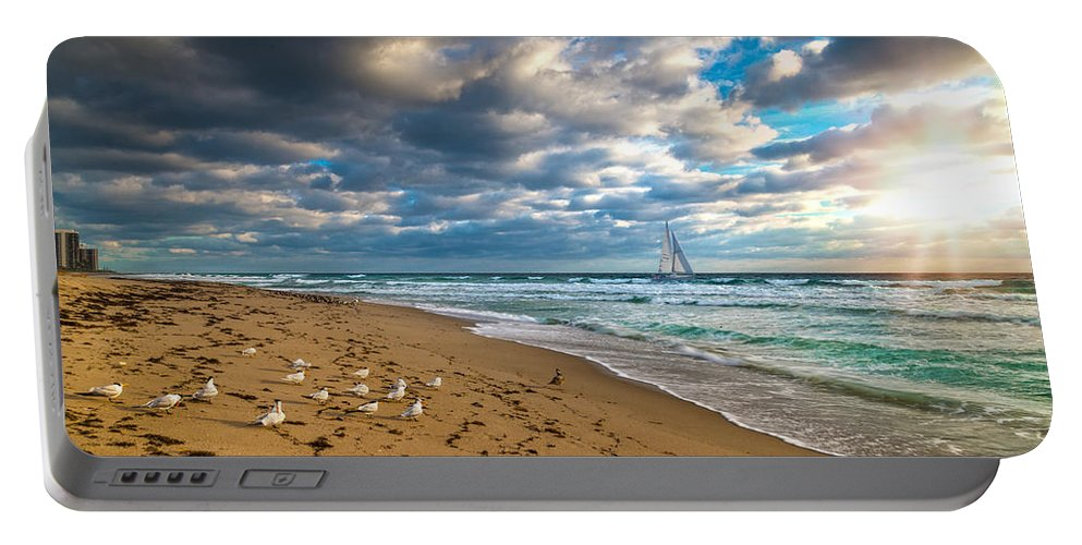 Riviera Beach Portable Battery Charger featuring the photograph Riviera Beach Sunrise by Lynn Bauer