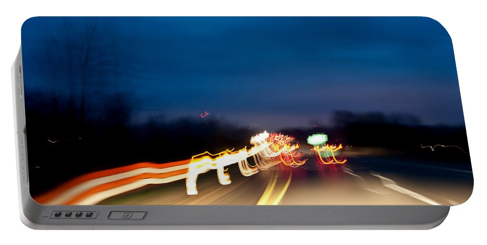 Portable Battery Charger featuring the photograph Road At Night 4 by Steven Dunn