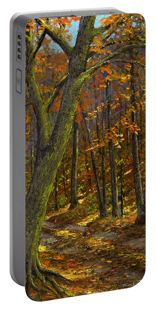 Landscape Portable Battery Charger featuring the painting Road In The Woods by Frank Wilson