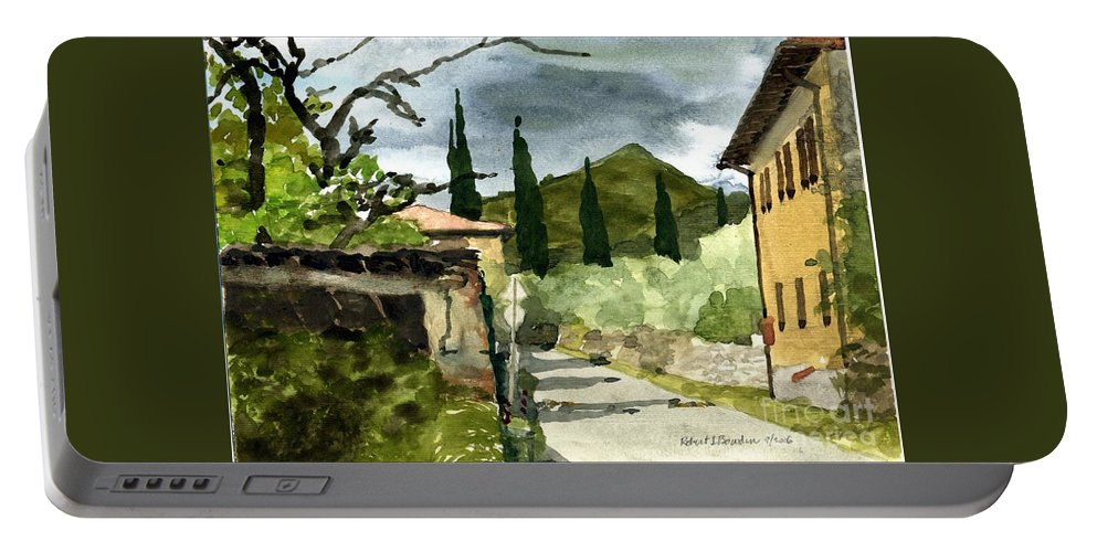 Landscape Portable Battery Charger featuring the painting Road To Reggello by Robert Bowden
