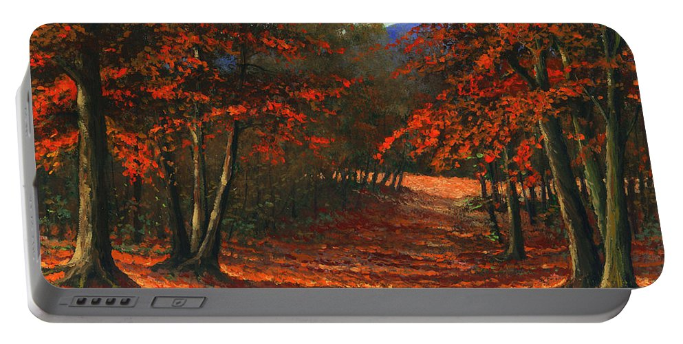 Landscape Portable Battery Charger featuring the painting Road To The Clearing by Frank Wilson