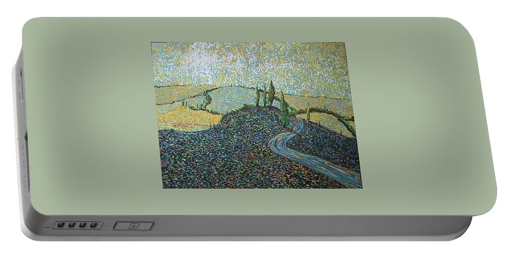Landscape Portable Battery Charger featuring the painting Road To Tuscany by Stefan Duncan