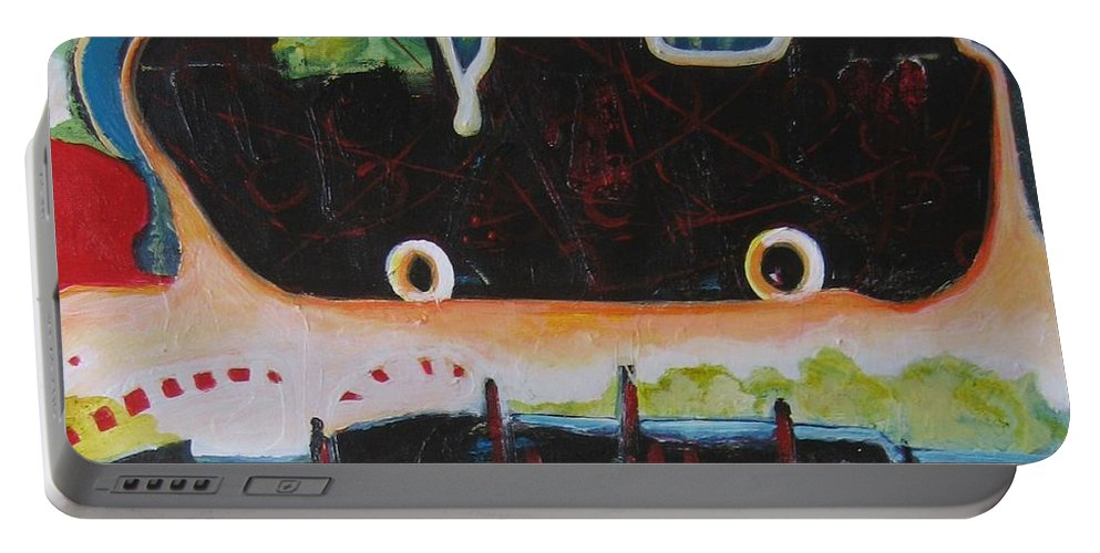 Abstract Paintings Portable Battery Charger featuring the painting Road Trip by Seon-Jeong Kim