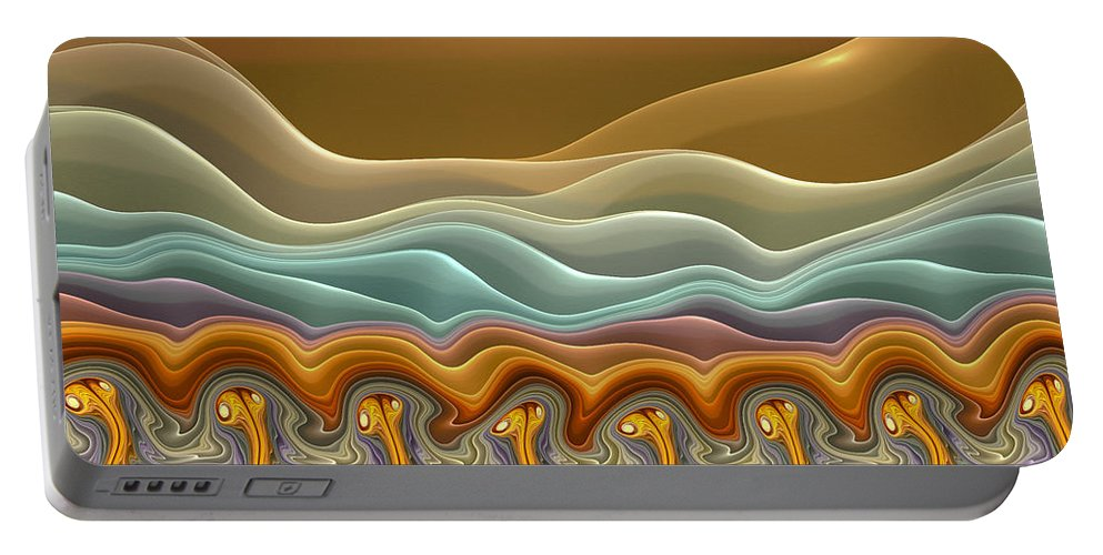 Fractals Portable Battery Charger featuring the digital art Roadrunner Races by Amorina Ashton