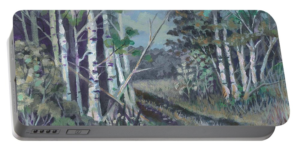 All Portable Battery Charger featuring the painting Roads End by Peter C Lavin