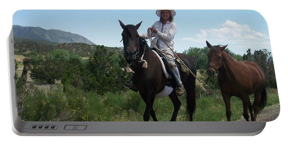Horses Portable Battery Charger featuring the photograph Roadside Horses by Anita Burgermeister
