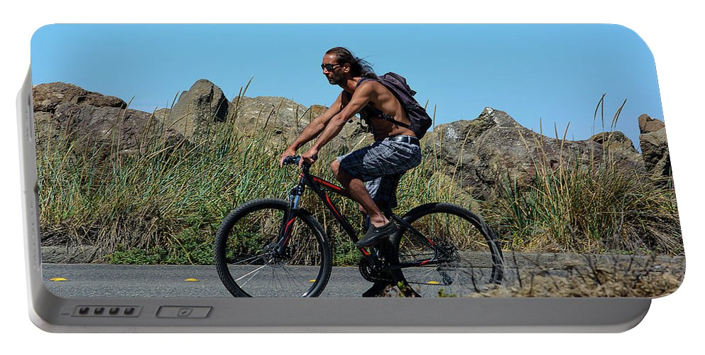 Bicyclist Portable Battery Charger featuring the photograph Roaming America by Tikvah's Hope