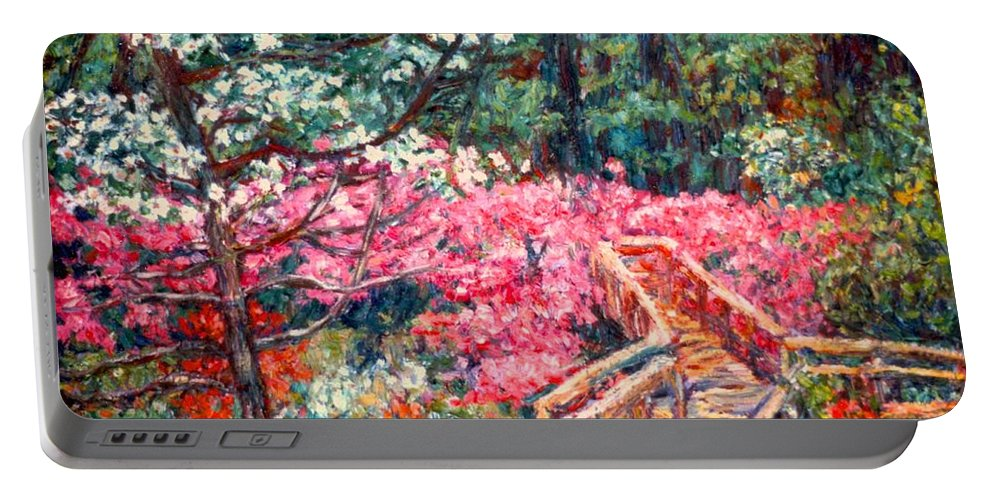 Garden Portable Battery Charger featuring the painting Roanoke Beauty by Kendall Kessler