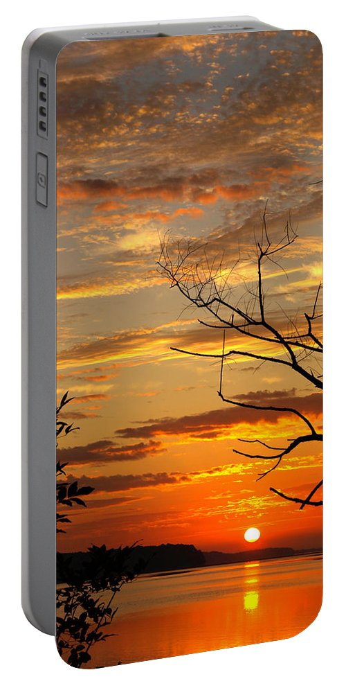Lake Portable Battery Charger featuring the photograph Roanoke Lake Sunrise by Don Keisling