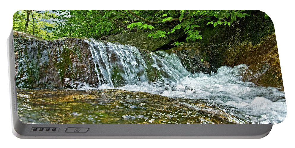 white Mountains Portable Battery Charger featuring the photograph Roaring Through The Woods by Paul Mangold