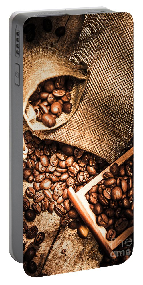 Country Portable Battery Charger featuring the photograph Roasted Coffee Beans In Drawer And Bags On Table by Jorgo Photography - Wall Art Gallery