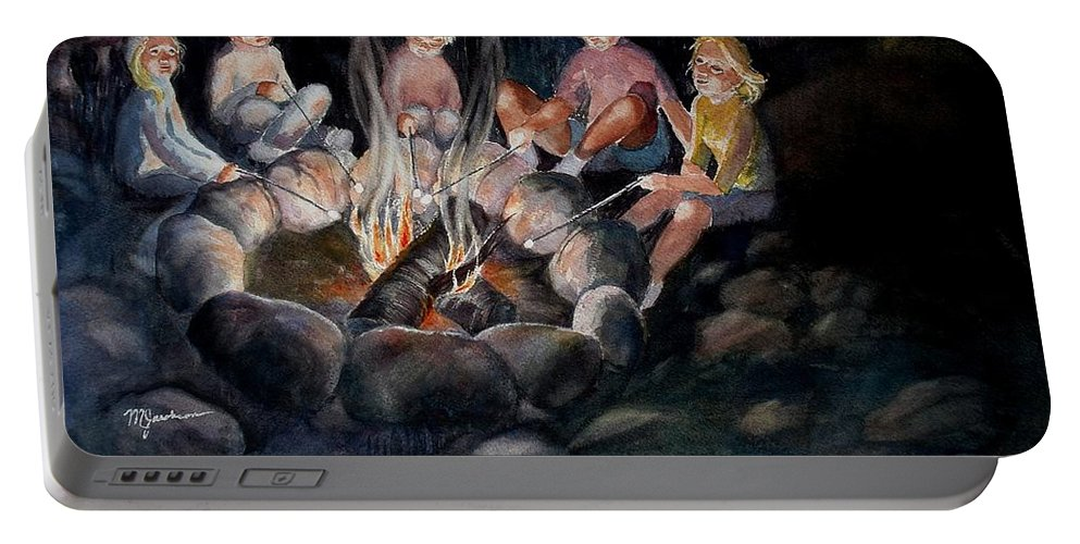 Family Portable Battery Charger featuring the painting Roasting Marshmallows by Marilyn Jacobson