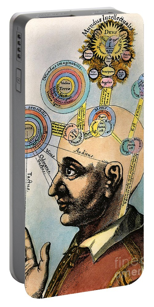 Brain Portable Battery Charger featuring the drawing Robert Fludd, 1574-1637 by Granger