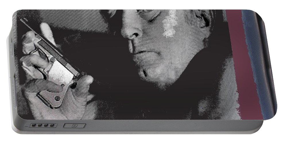 Robert Mitchum As Phillip Marlowe Neo Film Noir The Big Sleep 1978. Portable Battery Charger featuring the photograph Robert Mitchum As Phillip Marlowe Neo Film Noir The Big Sleep 1978. by David Lee Guss