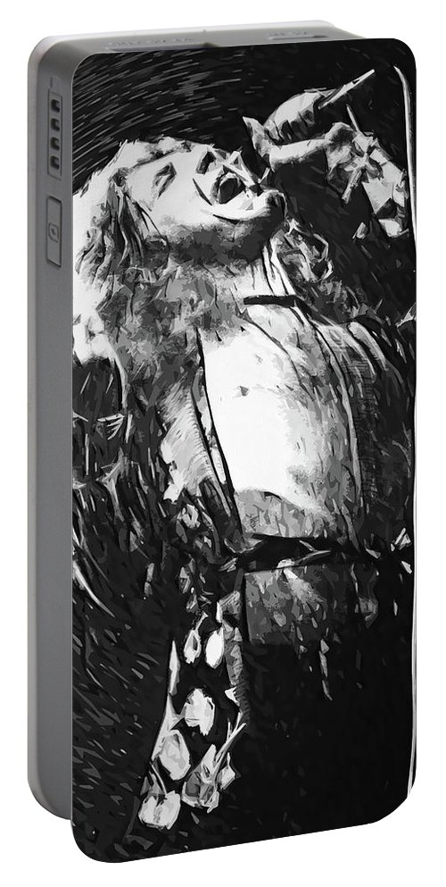 Led Zeppelin Portable Battery Charger featuring the digital art Robert Plant by Zapista OU