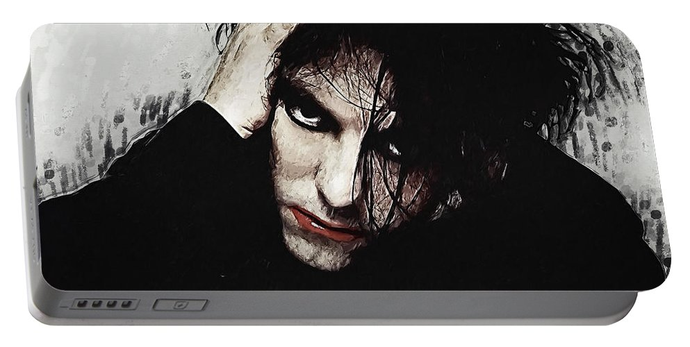 Robert Smith Portable Battery Charger featuring the painting Robert Smith - The Cure by Zapista OU