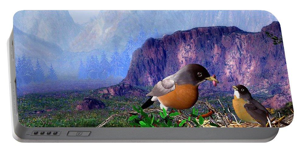 Bird Portable Battery Charger featuring the digital art Robin Feeding Baby Robin by John Junek