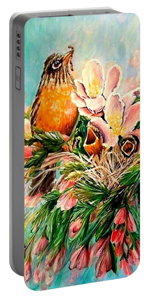 Robins Portable Battery Charger featuring the painting Robin Hood by Carol Allen Anfinsen