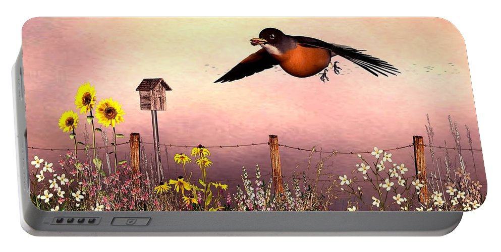 Bird Portable Battery Charger featuring the digital art Robin In Flight by John Junek